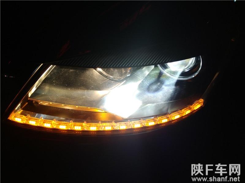 汉中汽车改装,帕萨特领驭改装汽车大灯双光透镜,加装LED泪眼