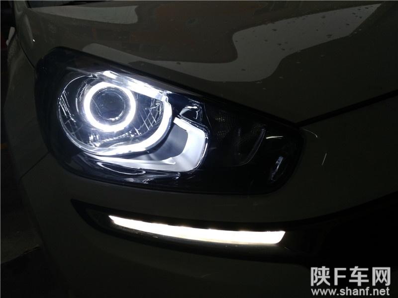 汉中车灯改装,起亚KX3改装双光透镜,加装天使眼