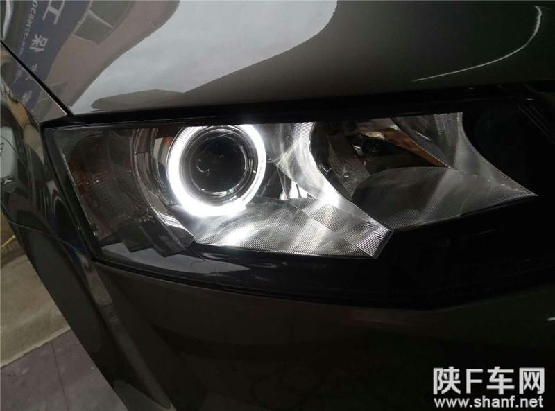 汉中改灯,斯柯达明锐大灯改装Q5透镜,加装天使眼