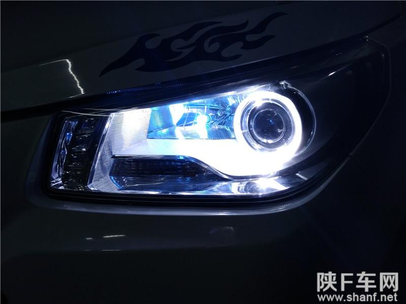 汉中汽车改装,英致G3改装大灯Q5透镜,加装天使眼