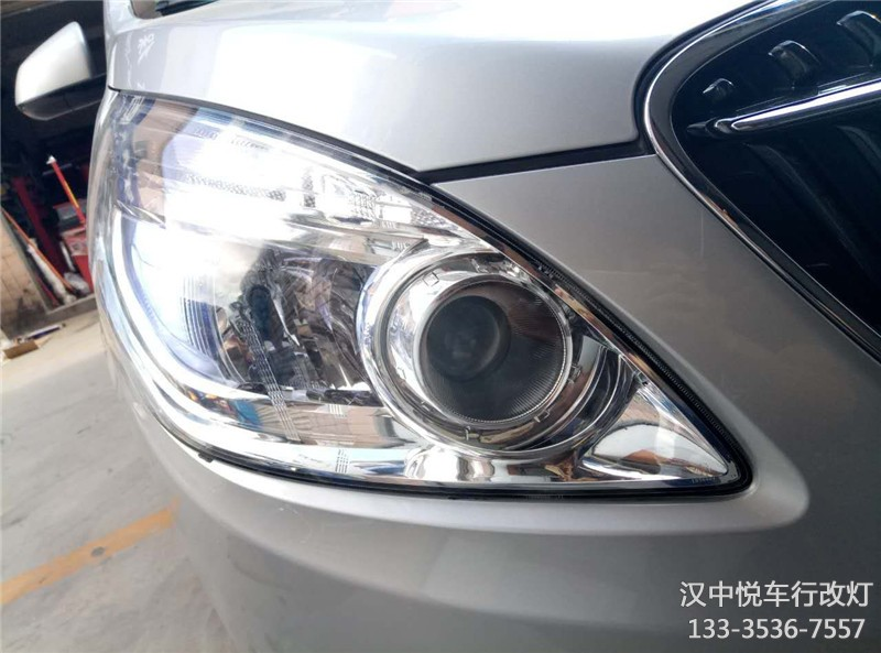 汉中汽车改装大灯,汉中悦车行改装全新GL8车灯锐倍德双光透镜,升级氙气灯